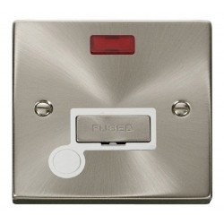 Click Deco Victorian Satin Chrome 13A Fused Ingot Connection Unit With Flex Outlet with Neon with White Insert