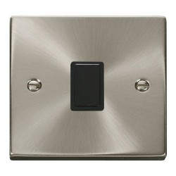 Click Deco Victorian Satin Chrome 20A 1 Gang Double Pole Switch with Black Insert