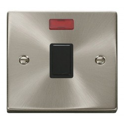 Click Deco Victorian Satin Chrome 20A 1 Gang Double Pole Switch with Neon with Black Insert