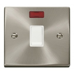 Click Deco Victorian Satin Chrome 20A 1 Gang Double Pole Switch with Neon with White Insert