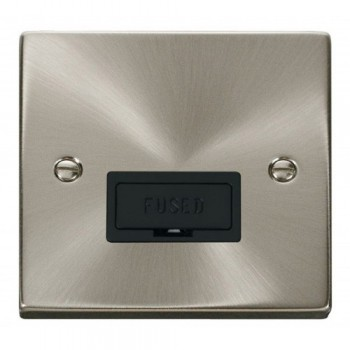 Click Deco Victorian Satin Chrome 13A Fused Connection Unit with Black Insert