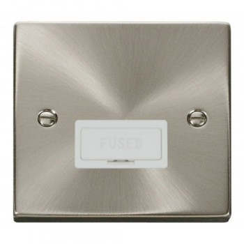Click Deco Victorian Satin Chrome 13A Fused Connection Unit with White Insert