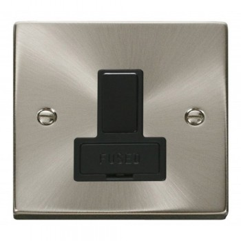 Click Deco Victorian Satin Chrome 13A Fused Switched Connection Unit with Black Insert