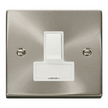 Click Deco Victorian Satin Chrome 13A Fused Switched Connection Unit with White Insert