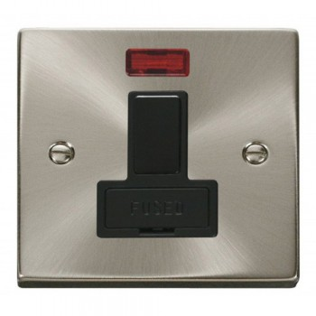 Click Deco Victorian Satin Chrome 13A Fused Switched Connection Unit With Neon with Black Insert