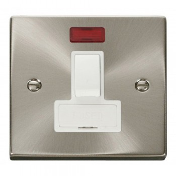 Click Deco Victorian Satin Chrome 13A Fused Switched Connection Unit With Neon with White Insert