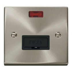 Click Deco Victorian Satin Chrome 13A Fused Connection Unit With Neon with Black Insert