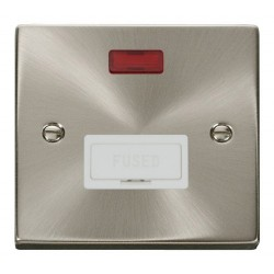 Click Deco Victorian Satin Chrome 13A Fused Connection Unit With Neon with White Insert