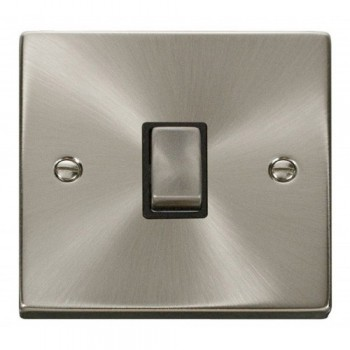 Click Deco Victorian Satin Chrome 20A 1 Gang Double Pole Ingot Switch with Black Insert