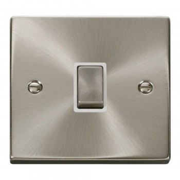 Click Deco Victorian Satin Chrome 20A 1 Gang Double Pole Ingot Switch with White Insert