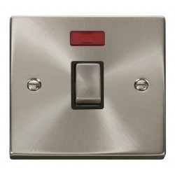 Click Deco Victorian Satin Chrome 20A 1 Gang Double Pole Ingot Switch with Neon with Black Insert