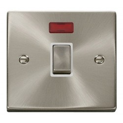 Click Deco Victorian Satin Chrome 20A 1 Gang Double Pole Ingot Switch with Neon with White Insert