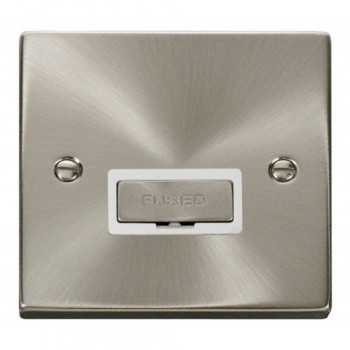 Click Deco Victorian Satin Chrome 13A Fused Ingot Connection Unit with White Insert