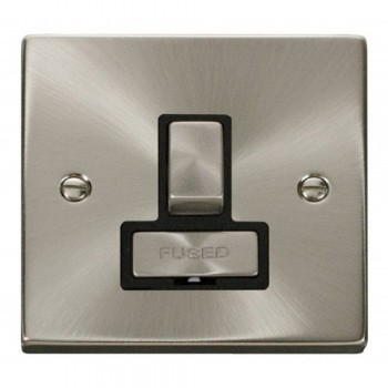 Click Deco Victorian Satin Chrome 13A Fused Ingot Switched Connection Unit with Black Insert