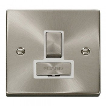 Click Deco Victorian Satin Chrome 13A Fused Ingot Switched Connection Unit with White Insert