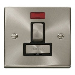 Click Deco Victorian Satin Chrome 13A Fused Ingot Switched Connection Unit With Neon with Black Insert