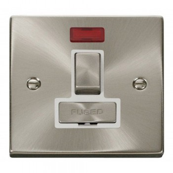 Click Deco Victorian Satin Chrome 13A Fused Ingot Switched Connection Unit With Neon with White Insert