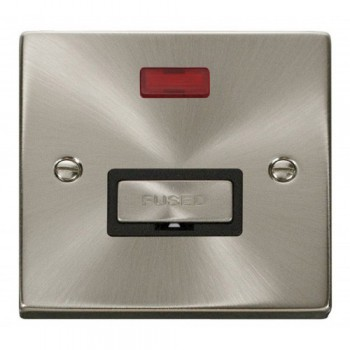Click Deco Victorian Satin Chrome 13A Fused Ingot Connection Unit With Neon with Black Insert
