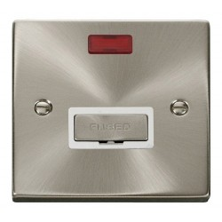 Click Deco Victorian Satin Chrome 13A Fused Ingot Connection Unit With Neon with White Insert