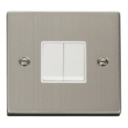 Click Deco Victorian Stainless Steel 2 Gang 2 Way 10AX Switch with White Insert