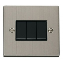 Click Deco Victorian Stainless Steel 3 Gang 2 Way 10AX Switch with Black Insert