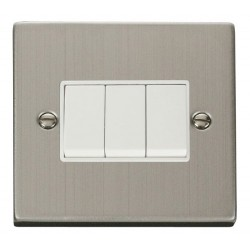 Click Deco Victorian Stainless Steel 3 Gang 2 Way 10AX Switch with White Insert