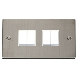 Click Deco Victorian Stainless Steel 4 Gang 2 Way 10AX Switch with White Insert