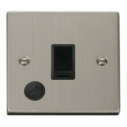 Click Deco Victorian Stainless Steel 20A 1 Gang Double Pole Switch With Flex Outlet with Black Insert