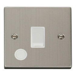 Click Deco Victorian Stainless Steel 20A 1 Gang Double Pole Switch With Flex Outlet with White Insert