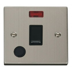 Click Deco Victorian Stainless Steel 20A 1 Gang Double Pole Switch With Flex Outlet And Neon with Black I...