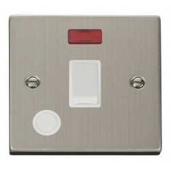 Click Deco Victorian Stainless Steel 20A 1 Gang Double Pole Switch With Flex Outlet And Neon with White Insert