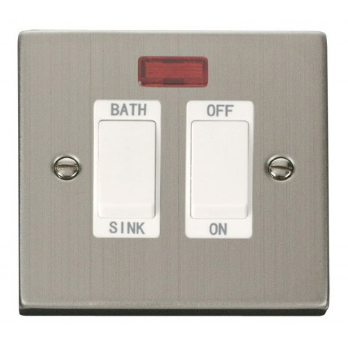 Click Deco Victorian Stainless Steel 20A Double Pole Sink/Bath Switch With  White Insert