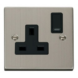 Click Deco Victorian Stainless Steel 1 Gang 13A Double Pole Switched Socket Outlet with Black Insert