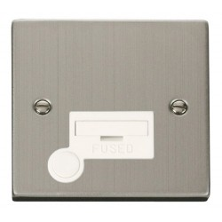 Click Deco Victorian Stainless Steel 13A Fused Connection Unit With Flex Outlet with White Insert