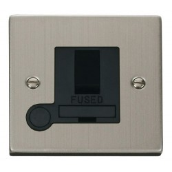 Click Deco Victorian Stainless Steel 13A Fused Switched Connection Unit With Flex Outlet with Black Inser...