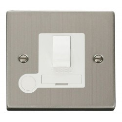 Click Deco Victorian Stainless Steel 13A Fused Switched Connection Unit With Flex Outlet with White Insert