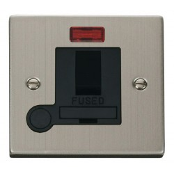 Click Deco Victorian Stainless Steel 13A Fused Switched Connection Unit With Flex Outlet with Neon with B...