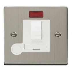 Click Deco Victorian Stainless Steel 13A Fused Switched Connection Unit With Flex Outlet with Neon with White Insert