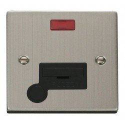 Click Deco Victorian Stainless Steel 13A Fused Connection Unit With Flex Outlet with Neon with Black Inse...