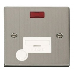 Click Deco Victorian Stainless Steel 13A Fused Connection Unit With Flex Outlet with Neon with White Insert