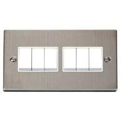 Click Deco Victorian Stainless Steel 6 Gang 2 Way 10AX Switch with White Insert