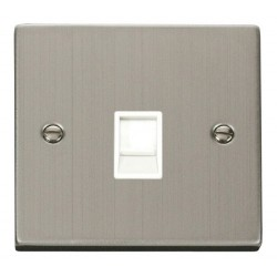 Click Deco Victorian Stainless Steel Single RJ11 Socket (Ireland/USA) with White Insert