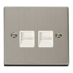 Click Deco Victorian Stainless Steel Twin Telephone Socket Outlet Secondary with White Insert