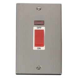 Click Deco Victorian Stainless Steel 2 Gang 45A Double Pole Switch With Neon with White Insert