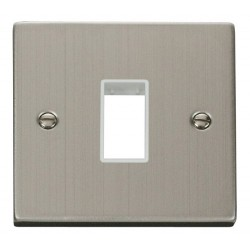 Click Deco Victorian Stainless Steel 1 Gang Plate Single Aperture with White Insert