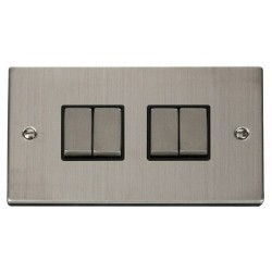 Click Deco Victorian Stainless Steel 4 Gang 2 Way Ingot 10AX Switch with Black Insert