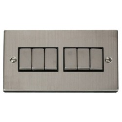 Click Deco Victorian Stainless Steel 6 Gang 2 Way Ingot 10AX Switch with Black Insert