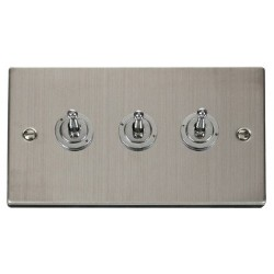 Click Deco Victorian Stainless Steel 3 Gang 2 Way 10AX Toggle Switch