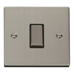 Click Deco Victorian Stainless Steel 1 Gang Intermediate Ingot 10AX Switch with Black Insert