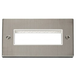 Click Deco Victorian Stainless Steel 2 Gang Plate 6 In-Line Aperture with White Insert